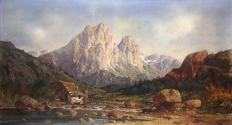 Paysage des Pyrénées, signé Pons, XIXè siècle