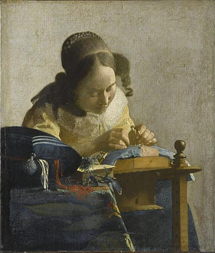 Painting by Vermeer La Dentelliere