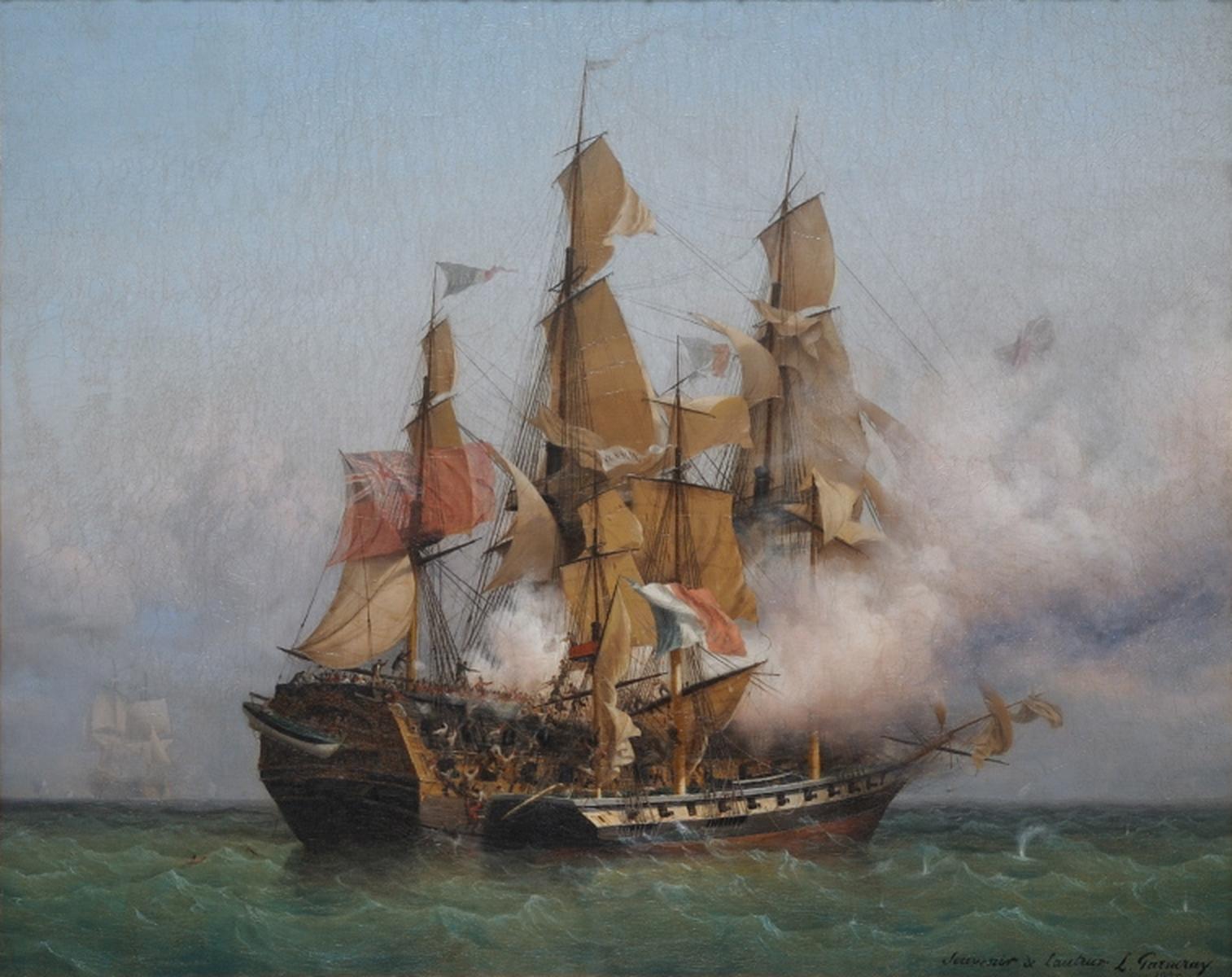 Combat de la Confiance, commandée par Robert Surcouf, et du Kent. Tableau de Ambroise-Louis Garneray
