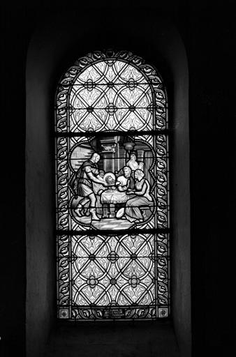 verrière (baie 10) : la tête de saint Jean-Baptiste est apportée à Salomé.