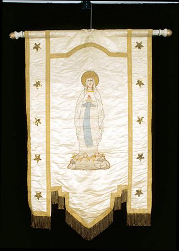 bannière de procession : Vierge de Lourdes