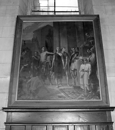 tableau : Comparution de deux martyrs devant un empereur Romain