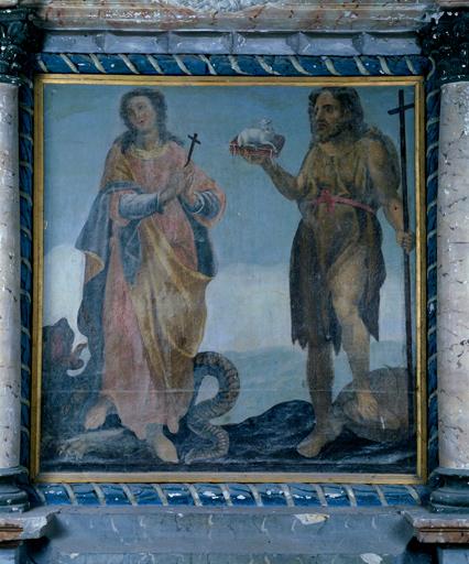 tableau : sainte Marguerite d'Antioche et saint Jean-Baptiste
