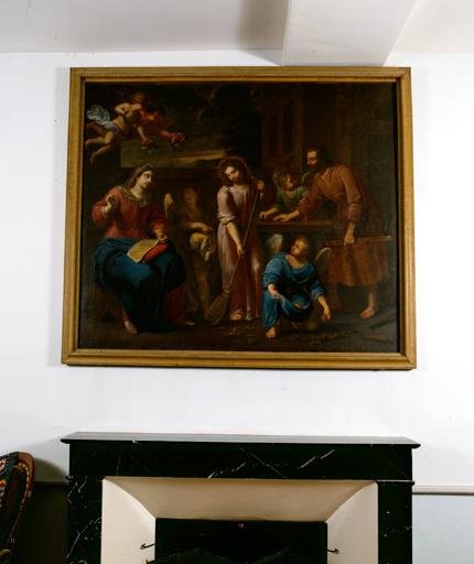 Tableau : La Sainte Famille aidée par les anges