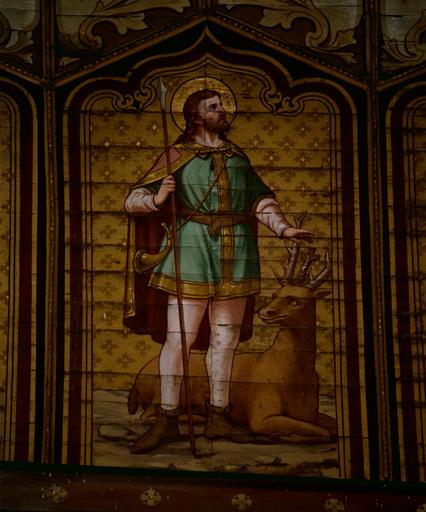 peinture monumentale N° 2 : anges aux instruments de la passion, litanie des saints.
