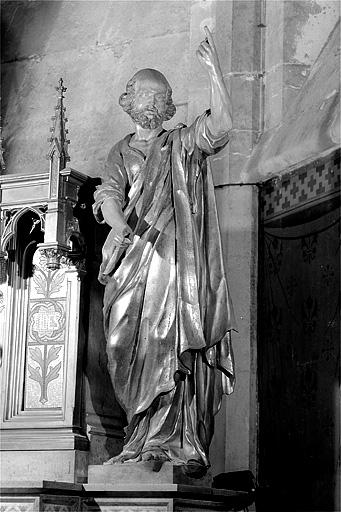ensemble de 2 statues de l'autel retable de saint Oyend : saint Pierre et saint Paul