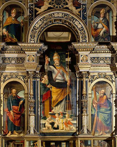ensemble des 5 tableaux du corps central du retable de Pierre de la Baume : Saint Pierre, Saint Paul, Saint André, Saint Oyend, Saint Claude, Vierge à l'Enfant