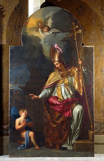 tableau du retable de saint Oyend : saint Claude guérissant un enfant