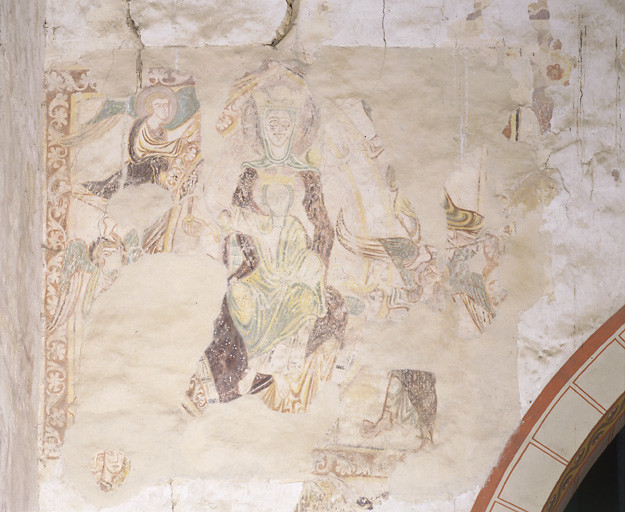 peinture monumentale : Vierge à l'Enfant en gloire, enfer, homme
