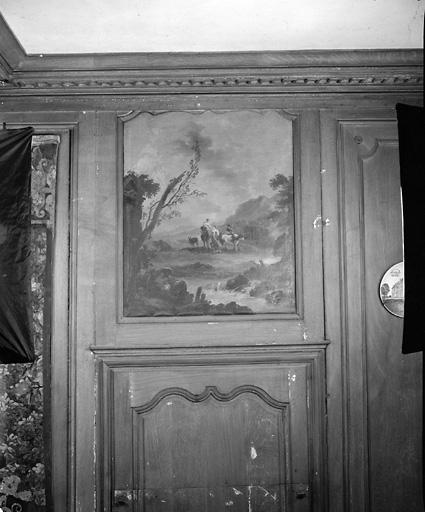 ensemble de 2 tableaux : Paysage aux bergères, Paysage aux marcheurs