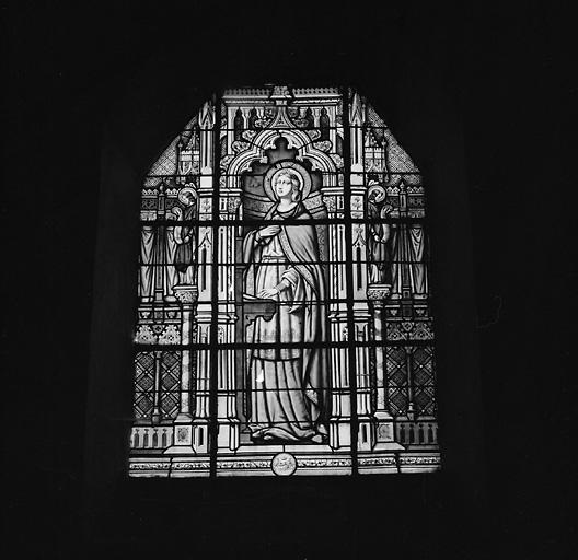 ensemble de 2 verrières : sainte Cécile, saint Pierre