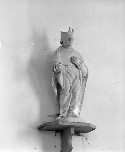 ensemble de 2 statues : saint Louis, sainte Barbe