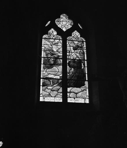 ensemble de 4 verrières : saint Pierre bénit Parcé-sur-Sarthe, sainte Marguerite d'Antioche, Reniemnt de saint Pierre, Agonie du Christ
