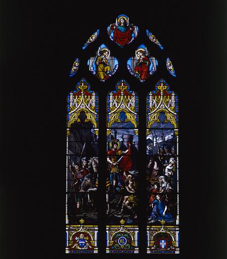 ensemble de 3 verrières : Nativité, Charité de saint Martin, saint recevant le chapelet de la Vierge à l'Enfant