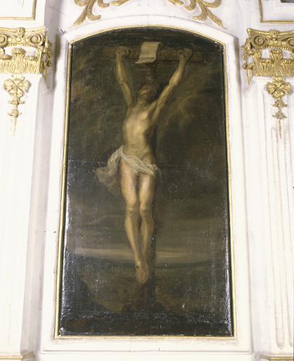 ensemble de 2 tableaux : Christ en croix, Vierge de Pirtié