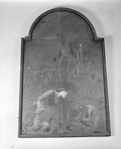 ensemble de 4 tableaux : Bon Pasteur, Présentation de la Vierge au Temple, Martyre de saint Etienne, Moïse et la manne