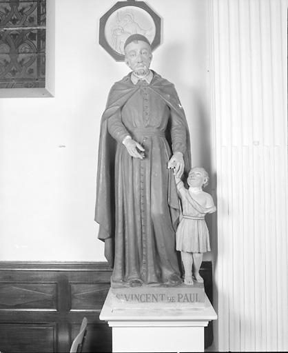 ensemble de 4 statues : Education de la Vierge, saint Joseph, saint Laurent, saint Vincent de Paul