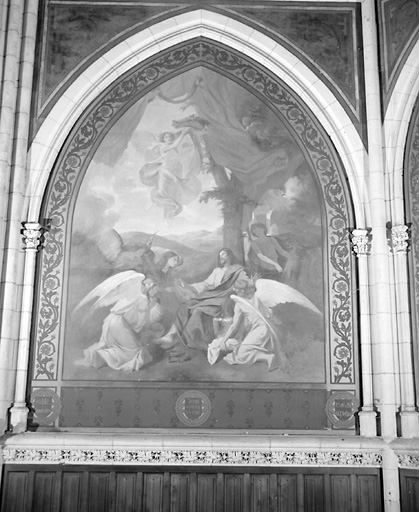 ensemble de 5 tableaux : martyre de saint Etienne, Immaculée Conception, Nativité, Jésus servi par les Anges, déploration du Christ