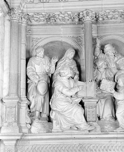 groupe sculpté : Jésus et les docteurs