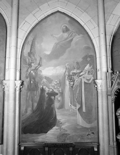 ensemble de 2 tableaux : vision de la bienheureuse Marguerite-Marie, la France se consacre au Sacré-Coeur en présence de ses saints apôtres