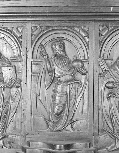 ensemble de 4 reliefs : Salvator Mundi, saint Pierre, saint Paul, homme endormi