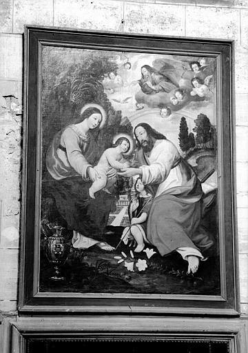 tableau : la Sainte Famille avec saint Jean-Baptiste