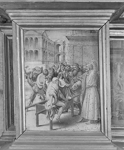 ensemble de 7 tableaux de la prédelle du retable de Pierre de la Baume