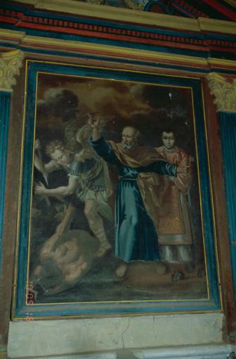 tableau d'autel : Saint Michel Archange, saint Pierre et saint Etienne