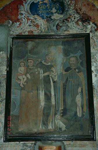 tableau d'autel : Saint Antoine de Padoue et l'Enfant Jésus, saint Vincent Ferrier et saint Roch