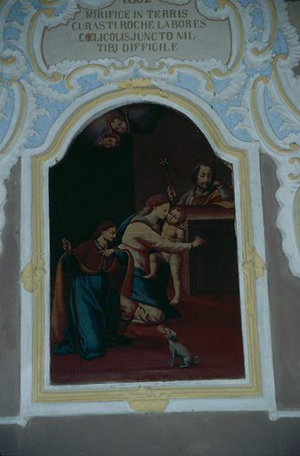 tableau d'autel : Sainte Famille, saint Roch