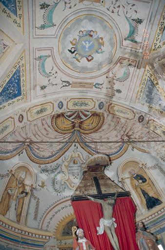 peintures monumentales : saint Pierre, saint Nicolas, chérubins, symboles, ornementation