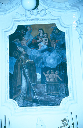 tableau d'autel : Apparition de la Vierge à l'Enfant à saint Nicolas