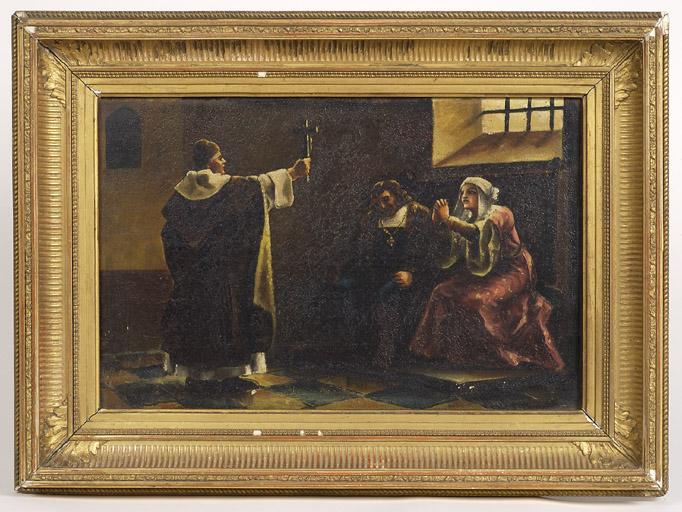 tableau : exorcisme ou scène d'abjuration (?)