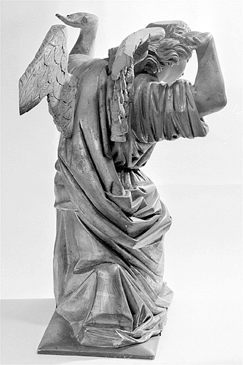 ensemble de 2 statues : anges adorateurs en atlante