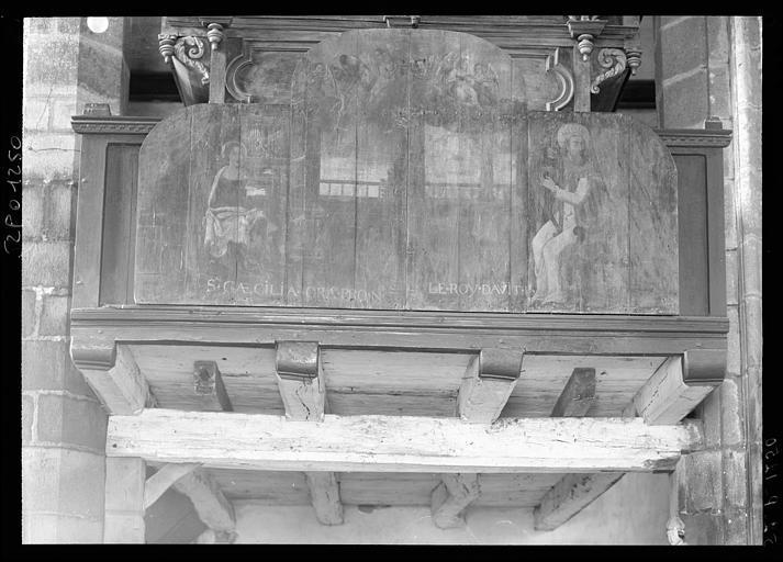 2 tableaux (panneaux peints) : Le Roi David, Sainte Cécile
