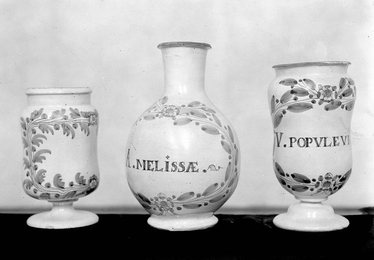 pot à pharmacie : pilulier à décor de couronne feuillue
