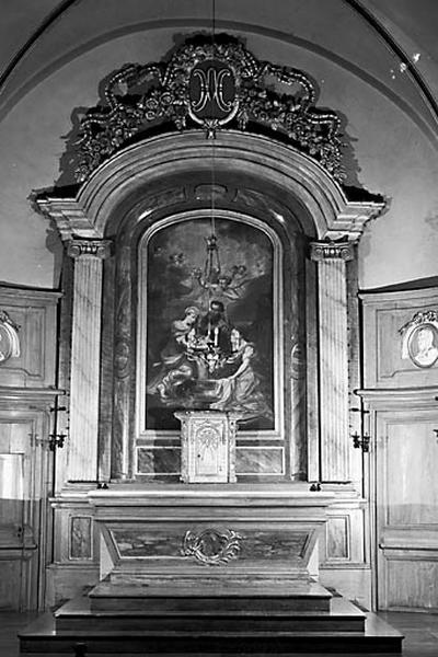 autel, retable, tabernacle, lambris de demi-revêtement (ensemble du maître-autel)