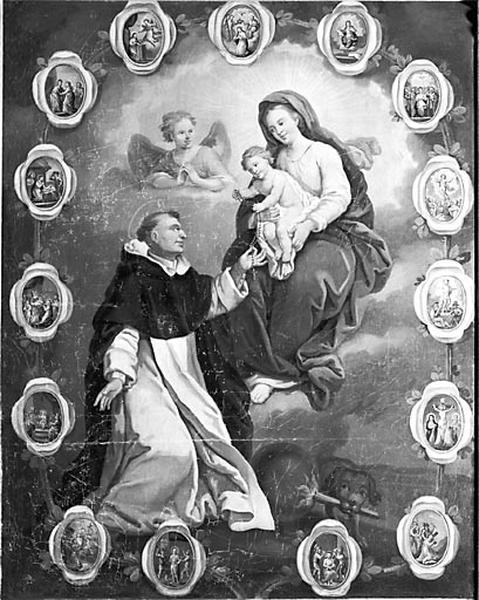 tableau d'autel : la Donation du rosaire à saint Dominique et sainte Catherine de Sienne