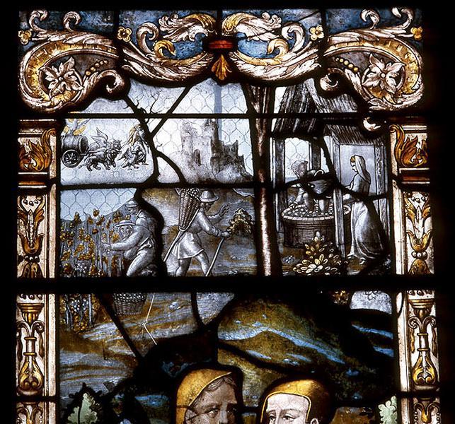 verrière figurée : le baptême du Christ et les pèlerins d'Emmaüs (baie 2)
