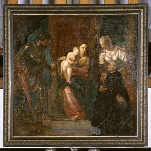 tableau : Vierge à l'Enfant entre sainte Justine et saint Georges avec un bénédictin