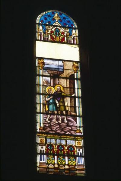 ensemble de trois verrières : Entrée de saint Philibert au monastère ; Entrée de saint Philibert au Ciel ; Translation des reliques de saint Philibert