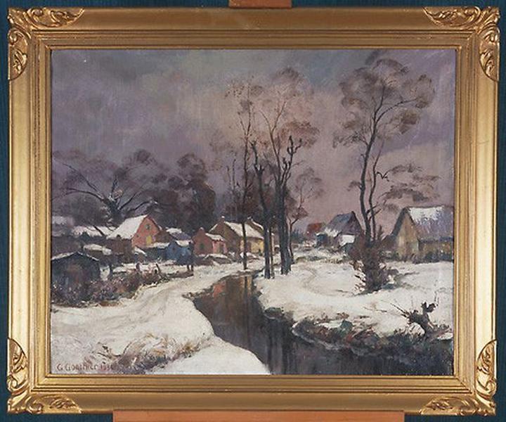 Tableau : Hameau sous la neige (Paysage d'hiver)