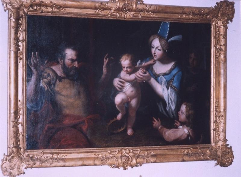 tableau : Moïse enfant fait en jouant tomber la couronne de Pharaon