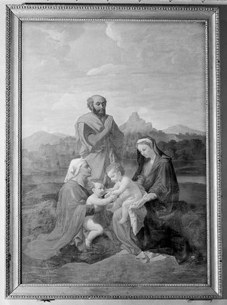 tableau : la Sainte Famille, dit aussi la Sainte Famille avec saint Jean, sainte Elisabeth et saint Joseph priant