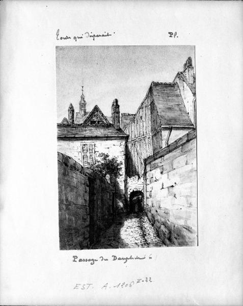 maisons; Hôtels; Immeubles ; rue dite passage du Camp de Molle (anciennement passage du Dauphin), puis rue Dauphine, puis cour Dauphine