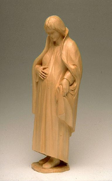 This pregnant Virgin is placed in the crèche during Advent.